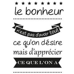 "STICKER MURAL CITATION "" LE BONHEUR"" (I0259)"