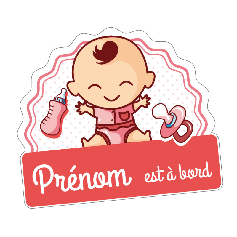 STICKER BEBE A BORD FILLE PERSONNALISABLE (J0128-PERSO)