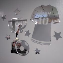 Miroir mural decoratif de football pour enfant - Plexiglas miroir (PLEXI_MIROIR_001)