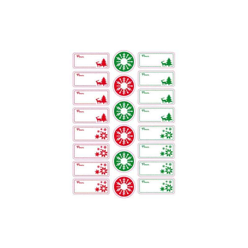 PLANCHE  DE 16 ETIQUETTES CADEAUX (PLNOEL2)