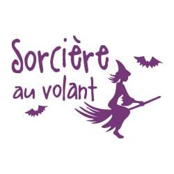 STICKER SORCIERE AU VOLANT (J0121)