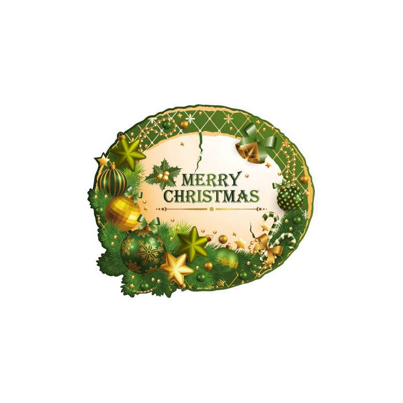STICKER COURONNE DE NOEL VERTE (T0138)