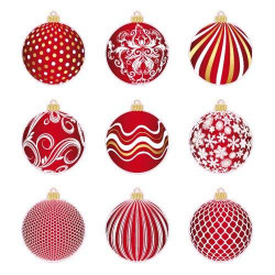 STICKER PLANCHE 9 BOULES ROUGE/BLANC/OR (T0153)