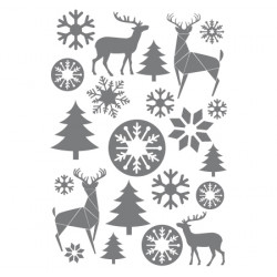 21 STICKERS NOEL : CERFS & FLOCONS (T0156)