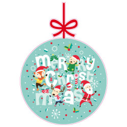STICKER BOULE DE NOEL MERRY CHRISTMAS (T0168)