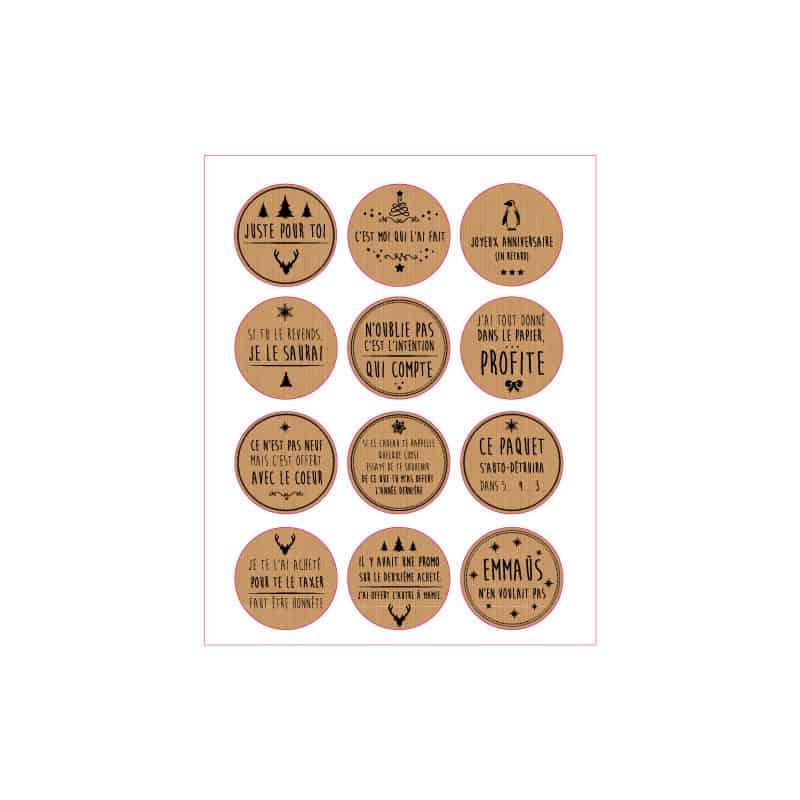 24 ETIQUETTES PAQUETS CADEAUX (LOT B) T0172