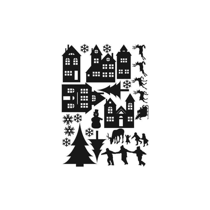 STICKER MOTIFS VILLAGE DE NOEL (T0189)