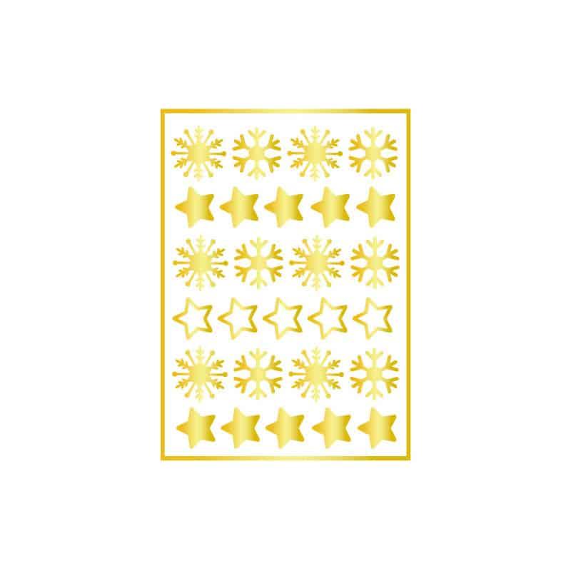 STICKER PLANCHE DE NOEL FLOCONS & ETOILES (T0197)