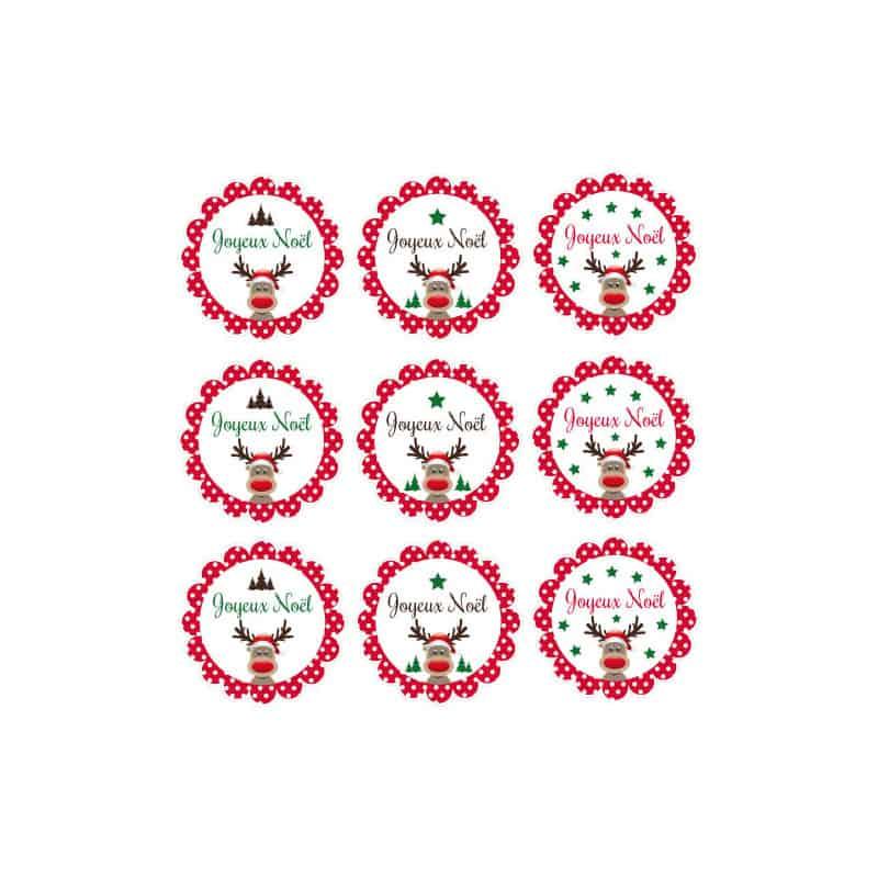 PLANCHE DE 9 ETIQUETTES PETIT RENNE (T0206)
