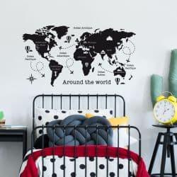 ADHESIF CARTE DU MONDE AROUND THE WORLD (C0121)