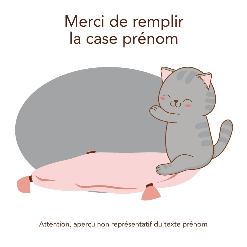 Sticker De Porte Personnalisable avec Le Pr/énom de Votre Enfant Adh/ésif Dimensions 17.5 x 10.7 cm Petit Chaton